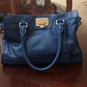 Cole Haan blue leather satchel.